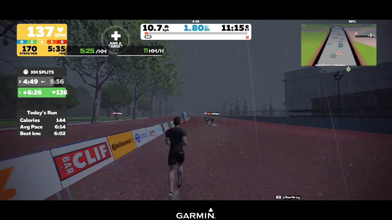 Zwift running MilestonePod vs Stryd data overlayed [High res]