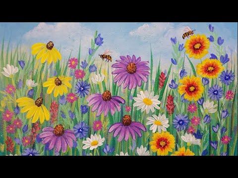 Wildflowers Acrylic Painting Tutorial LIVE Beginner Step by Step Flowers