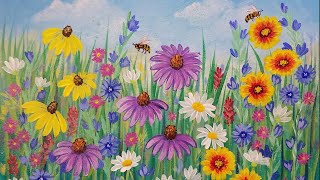 Video Wildflowers Acrylic Painting Tutorial LIVE Beginner Step by Step Flowers download MP3, 3GP, MP4, WEBM, AVI, FLV Maret 2018