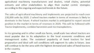 Agricultural Machinery in Indonesia to Drive the Demand for Agricultural Equipments: Ken Research