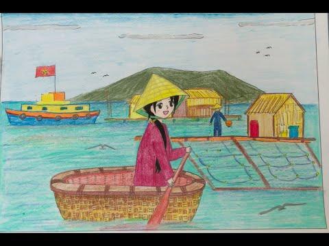 Vẽ tranh:  Đề tài Quê hương em 5/6 (Mỹ thuật lớp 6) - Linh Kid