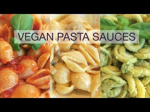 VEGAN PASTA SAUCES - 3 Of The Best Dairy-free Pasta Sauces! Tomato, Creamy And Pesto! Natalie Danza