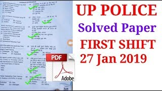UP POLICE PREVIOUS YEAR SOLVED PAPER 27 JAN 2019/UP POLICE PAPER 27 JAN 2019