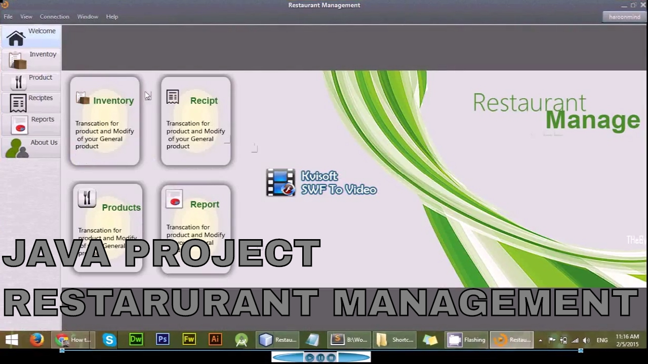 JAVA - Restaurant Management in SWING -Download Free