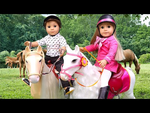 Doll morning routine for horse riding lesson with a friend! Play TOys