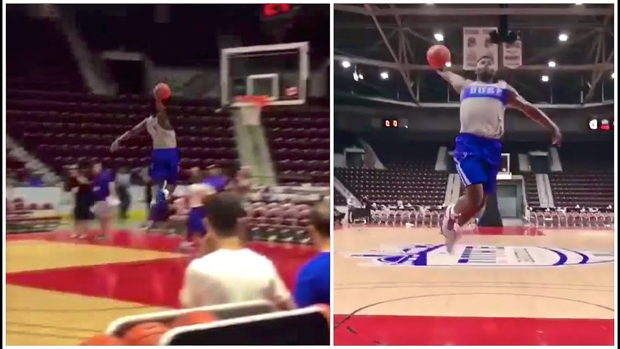 f723603762b1 Zion Williamson has dunk-off from the free throw line with his teammate Rj  Barrett