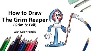 How to Draw The Grim Reaper from Grim & Evil with Color Pencils [Time Lapse]
