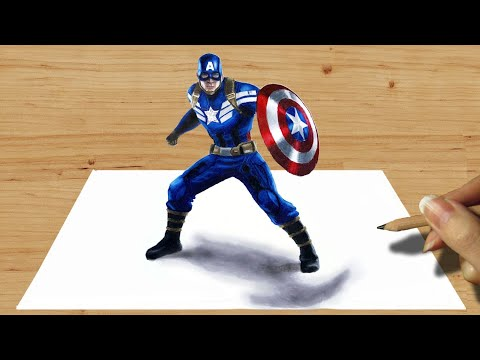 3D Pencil Drawing: Captain America - Speed Draw | Jasmina Susak