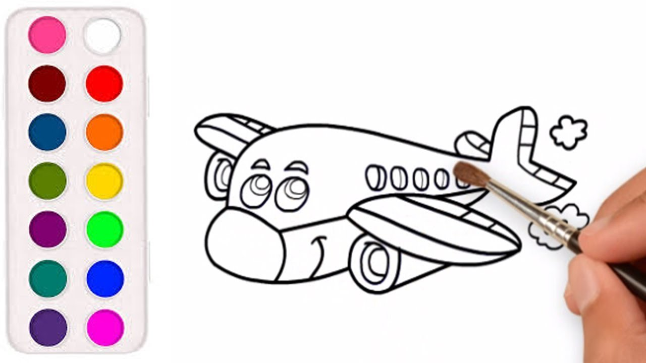 Menggambar Dan Mewarnai Pesawat Terbang Untuk Kreasi Anak Youtube
