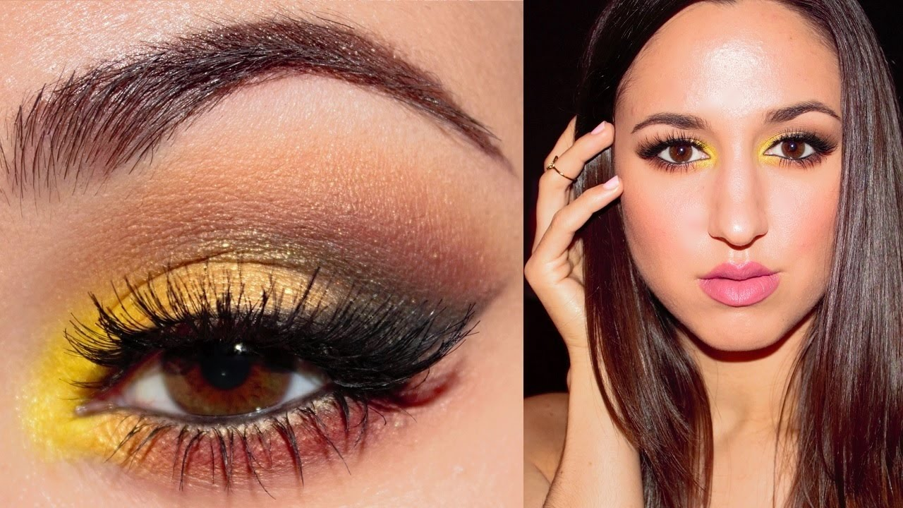 Bold Yellow Gold Cat Eye Makeup Tutorial Jessica Rembish Youtube