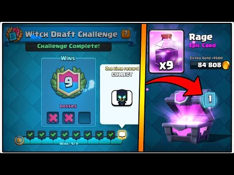 9 WINS WITCH DRAFT CHALLENGE | CLASH ROYALE | MAGICAL CHEST OPENING!