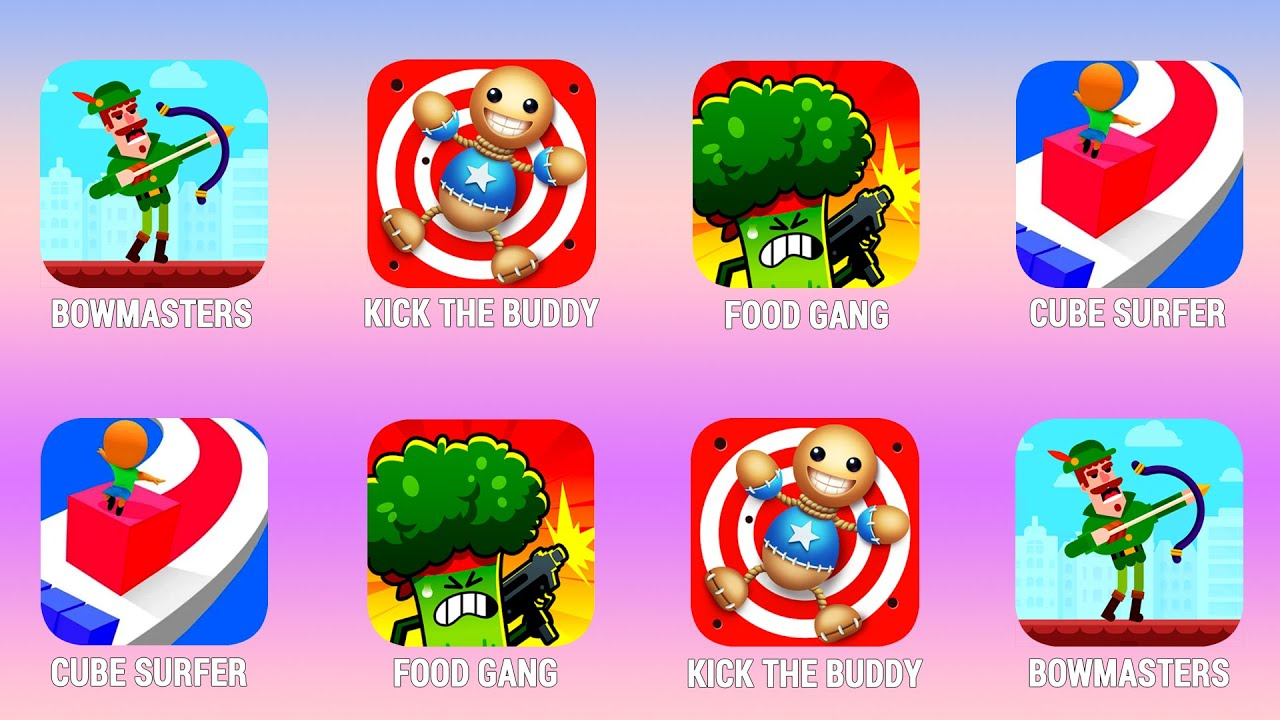 BOWMASTERS, Kick The Buddy, Food Gang, Cube Surfer, Walkthrough (iOs, Android)   Power of Gameplay