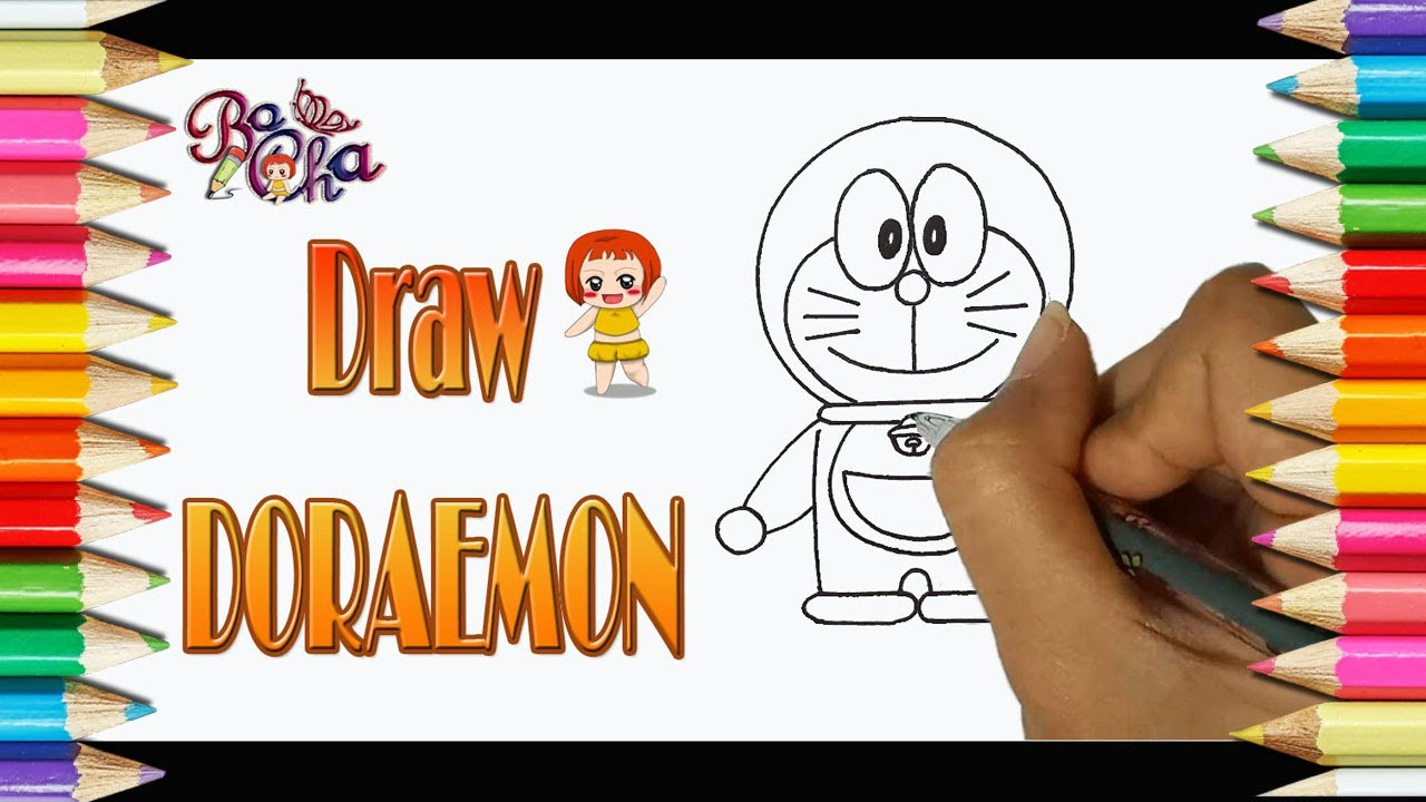 cách vẽ Doraemon đơn giản nhanh – BoCha – how to draw doraemon