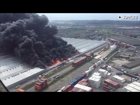 Aerial footage shows massive fire at Durban warehouse