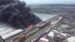 Repeat youtube video Aerial footage shows massive fire at Durban warehouse