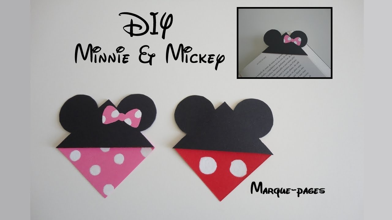 diy marque page minnie mickey youtube. Black Bedroom Furniture Sets. Home Design Ideas