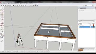Соединение бруса шип-паз (первый ряд). Проект SketchUp. Баня из бруса.