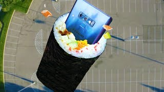 Can Galaxy Note 9 Survive 100 FT Drop Test in GIANT Sushi Roll?