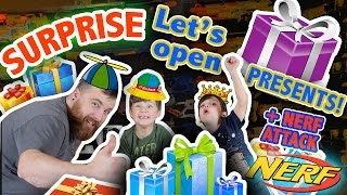 LET'S OPEN Birthday Presents   BATMAN   HOTWHEELS   STAR WARS   NERF ATTACK ON DAD at the end!(We got a lot of presents for our birthday. Watch to find out exactly what we got! We also got lots of money!!! We're rich! Tranformers, batman, minion bags, hot ..., 2016-11-30T04:13:48.000Z)