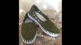 Yeşil Babet Örgü Ayakkabı Yapımı 1. Bölüm