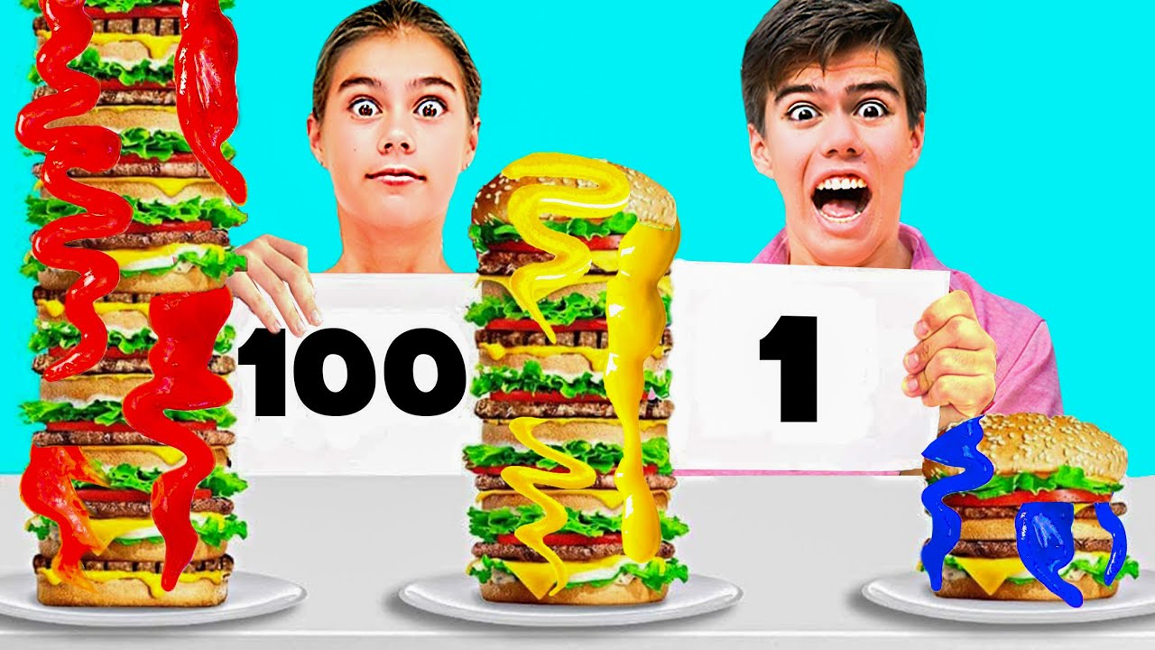 Desafío 100 capas de comida con salsa !
