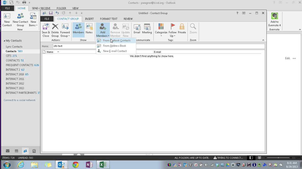 outlook 2013 create a contact group distribution list from excel