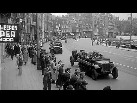 1940: Intocht Duitse troepen in Amsterdam begin Tweede Wereldoorlog - met Dam, Rokin, Muntplein