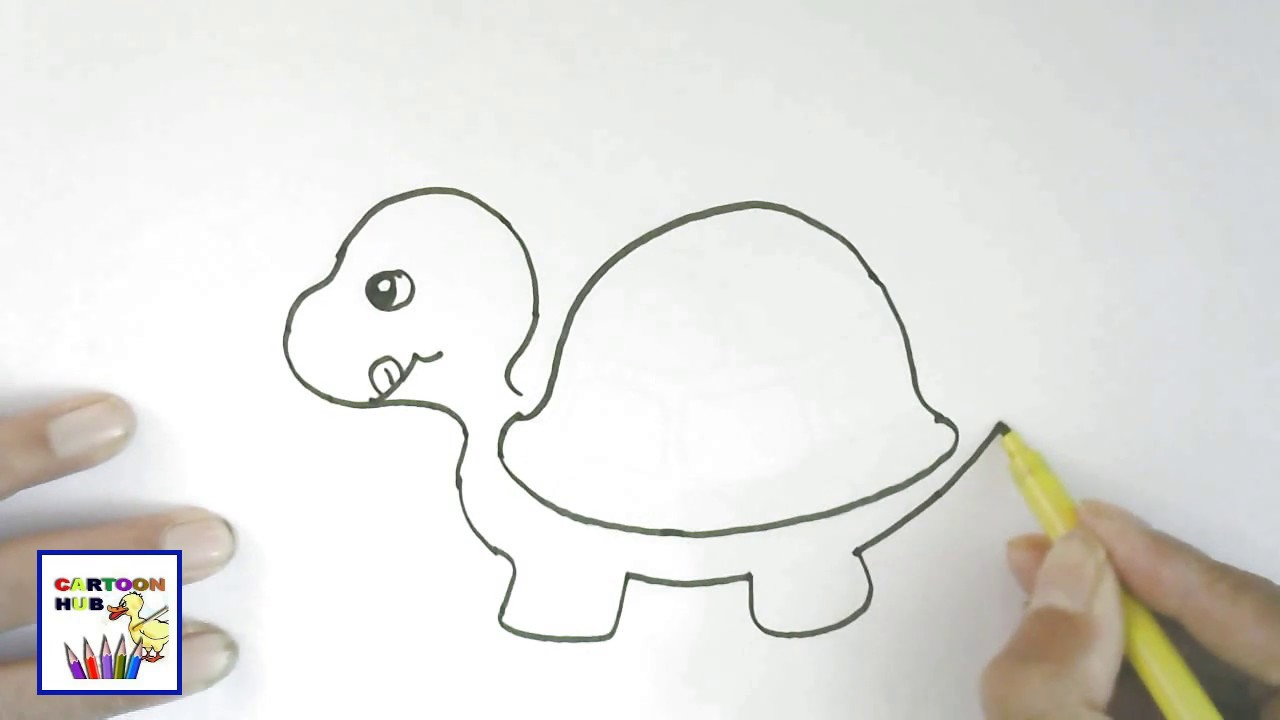 How To Draw Baby Turtle Turtle Easy Steps Step By Step For Children Kids Beginners Youtube