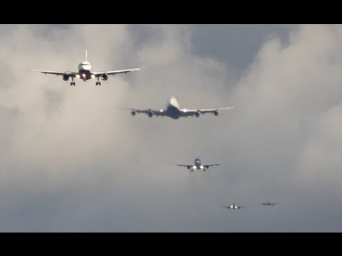London HEATHROW Approach Time-Lapse Boeing 747, 767, 777