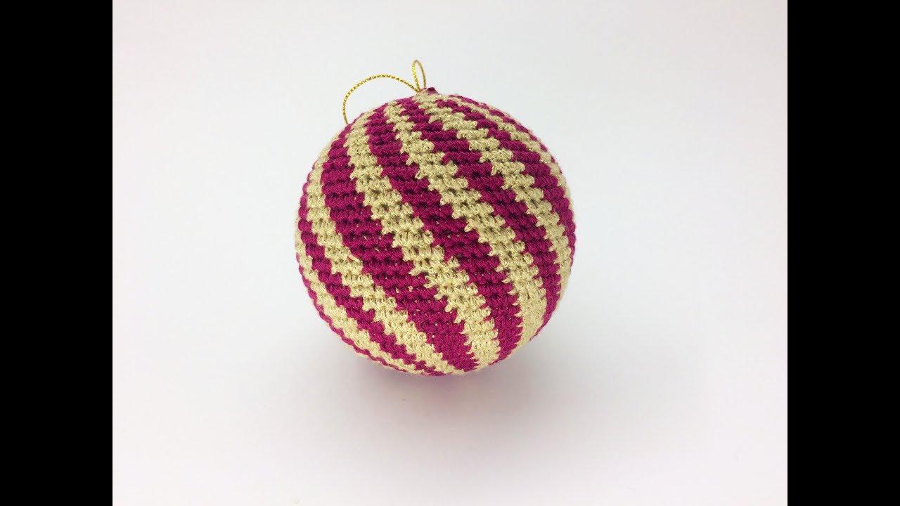 Елочный полосатый шар крючком - Как обвязать шар