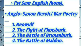 Old English Heroic or War poetry / 1'st sem - college students.