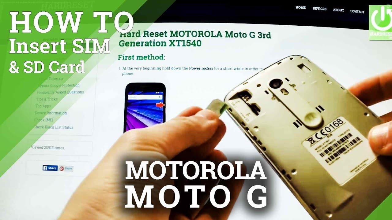 How to insert SIM card and Micro SD card in MOTOROLA Moto G 3rd Generation XT1540