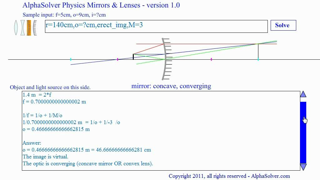 How To Work Concave Mirror Problems Ray Diagram Included Youtube