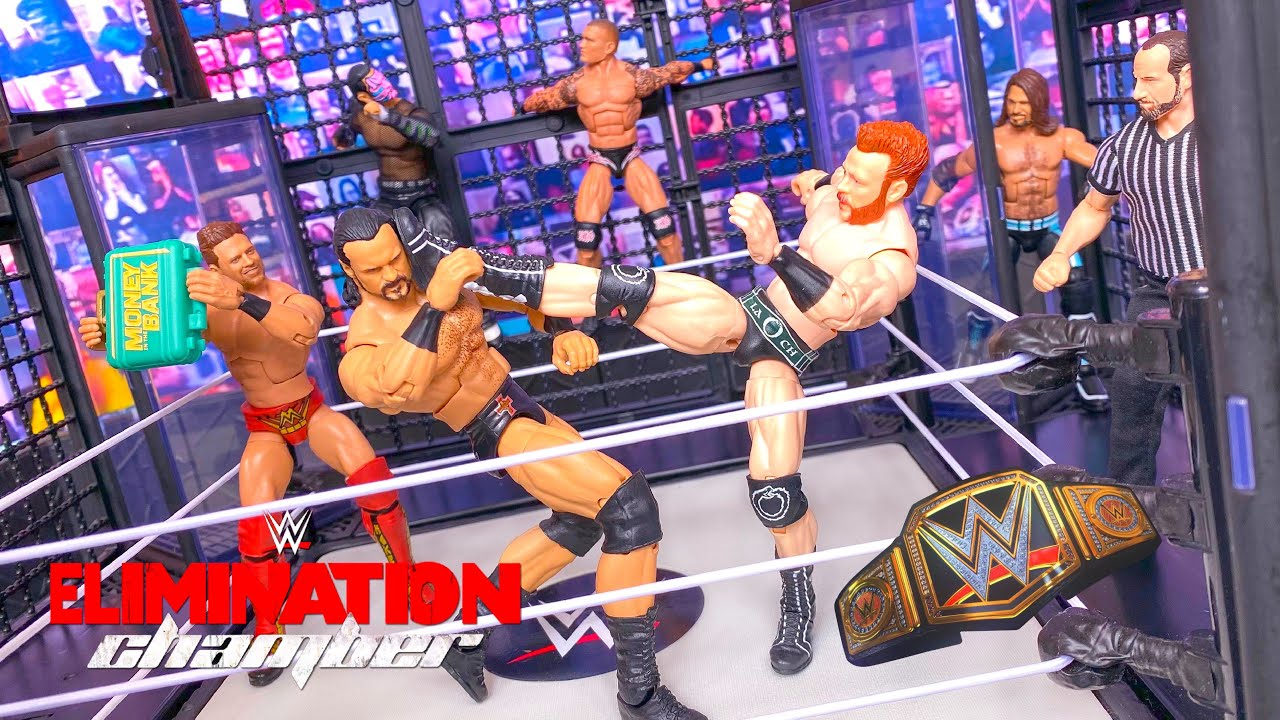 ELIMINATION CHAMBER ACTION FIGURE MATCH! WWE CHAMPIONSHIP!