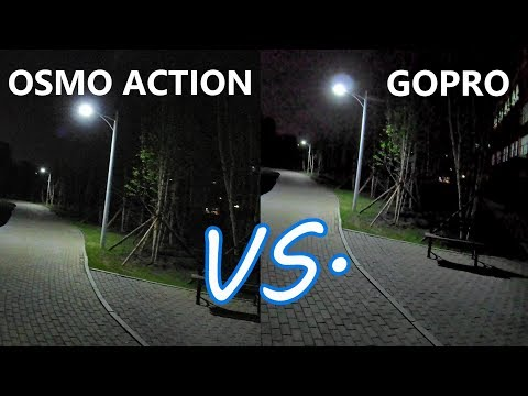 DJI OSMO ACTION vs GO PRO 7 in LOW LIGHT / DARK ROOM / AT NIGHT. Test with and without Gimbal!