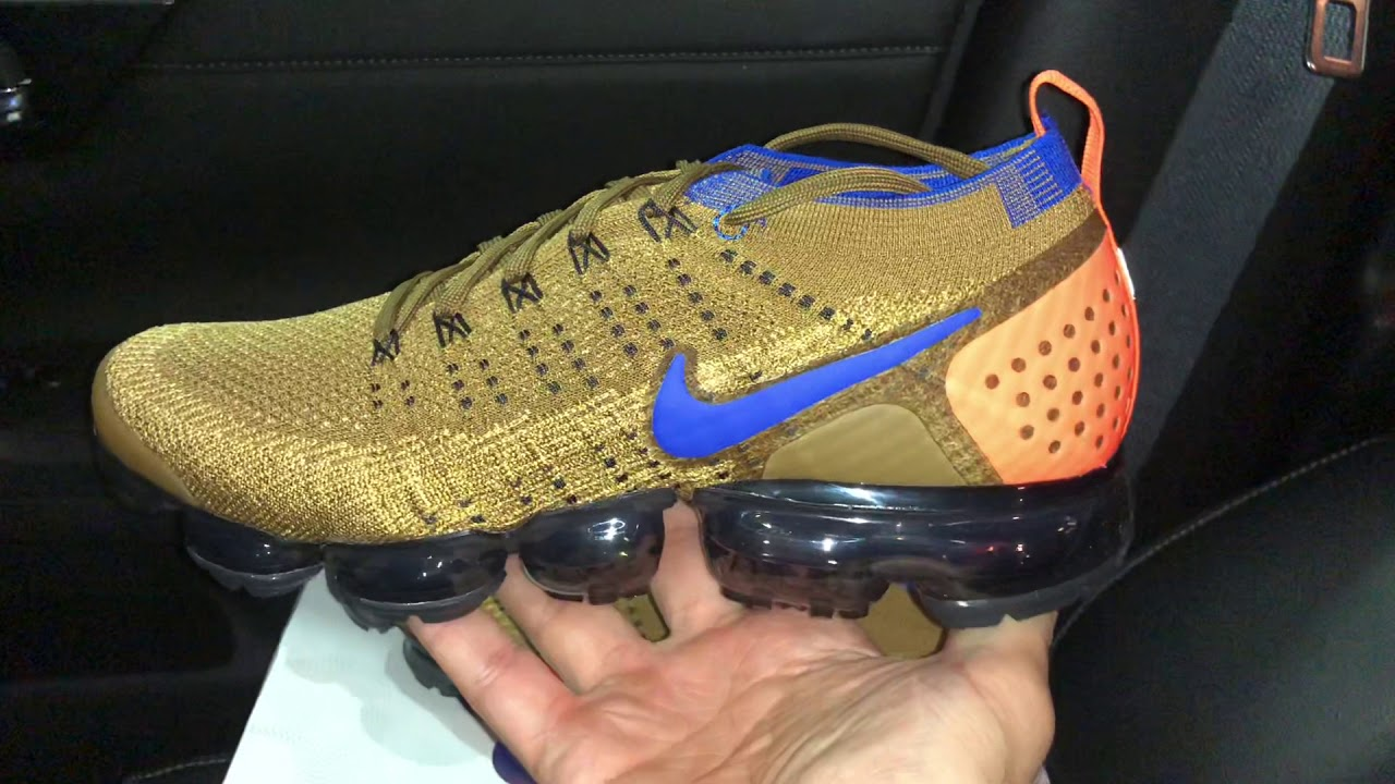 4dd11e521f06 Air VaporMax Flyknit 2 Golden Blue Nike sneakers - YouTube