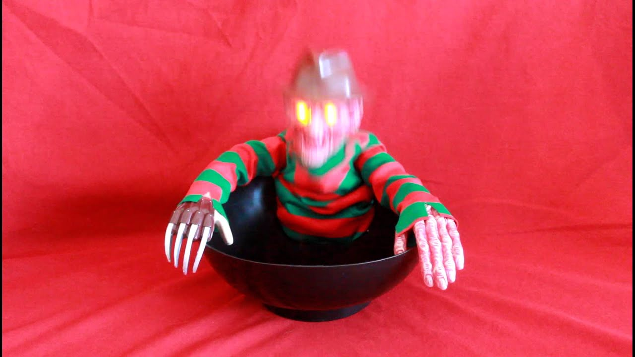 demo of a nightmare on elm street freddy krueger animated light up halloween candy dish bowl prop - Freddy Krueger Halloween Decorations