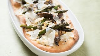 Flatbread with Grana Padano Cheese, Soy Grilled Asparagus and Mushrooms, and Togarashi