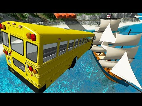 Beamng Drive - Car Jumping Into Pirate Ship On The Sea | BeamNG-Destruction