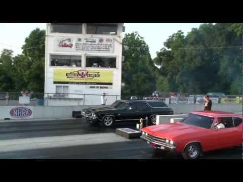 procharged chevy wagon drag racing