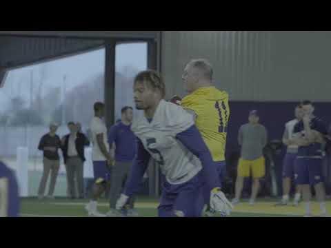John Bel Edwards plays QB at LSU football practice