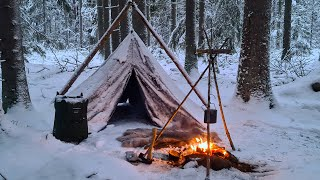 Winter Wild Camping and Hiking in Snow - Canvas Lavvu - Adjustable Bushcraft Pot Hanger- Ice Fishing