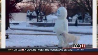 Poodle-walking Snowman Hits Allouez