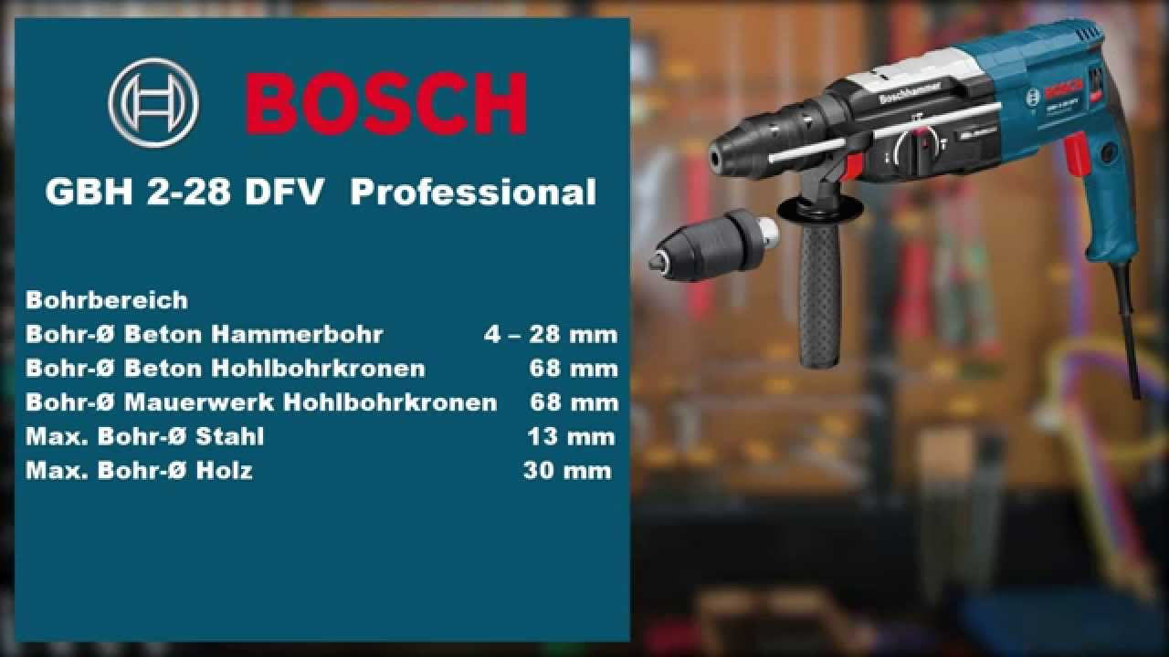 bosch gbh 2 28 dfv professional bohrhammer test youtube. Black Bedroom Furniture Sets. Home Design Ideas