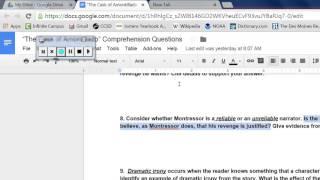 Cask of Amontillado Comprehension Questions