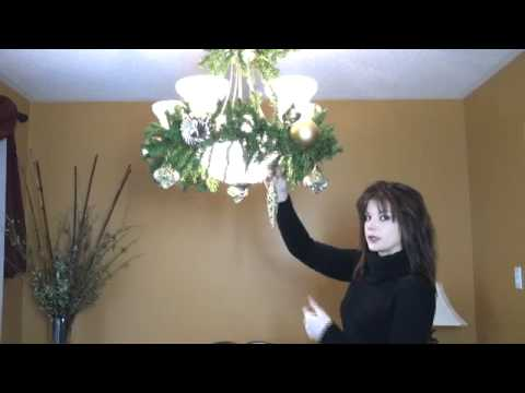 video how to decorate a chandelier light fixture for christmas part 2 - How To Decorate A Chandelier For Christmas