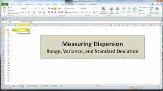 Excel Statistics 03 - Measขring Dispersion: Range, Variance, and Standard Deviation