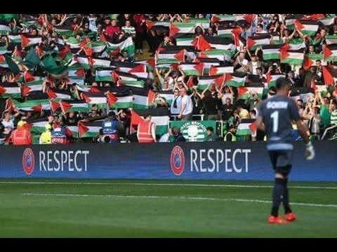 جمهور فريق سيلتيك يرفع علم فلسطين CELTIC Fans Singing For Palestine