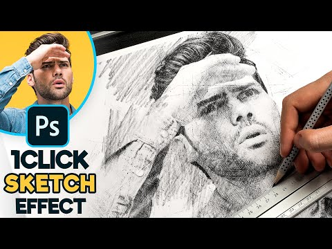 1-CLICK Photo to Pencil Drawing Sketch Effect - Photoshop Tutorial