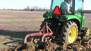 John Deere 3320 3033R Plowing with 2-12 Ferguson Plow